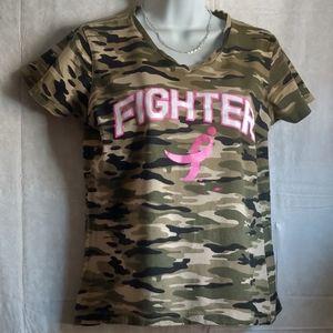 "🗺 Susan Koman Cotton Camo ""FIGHTER"" Vneck T-shirt"